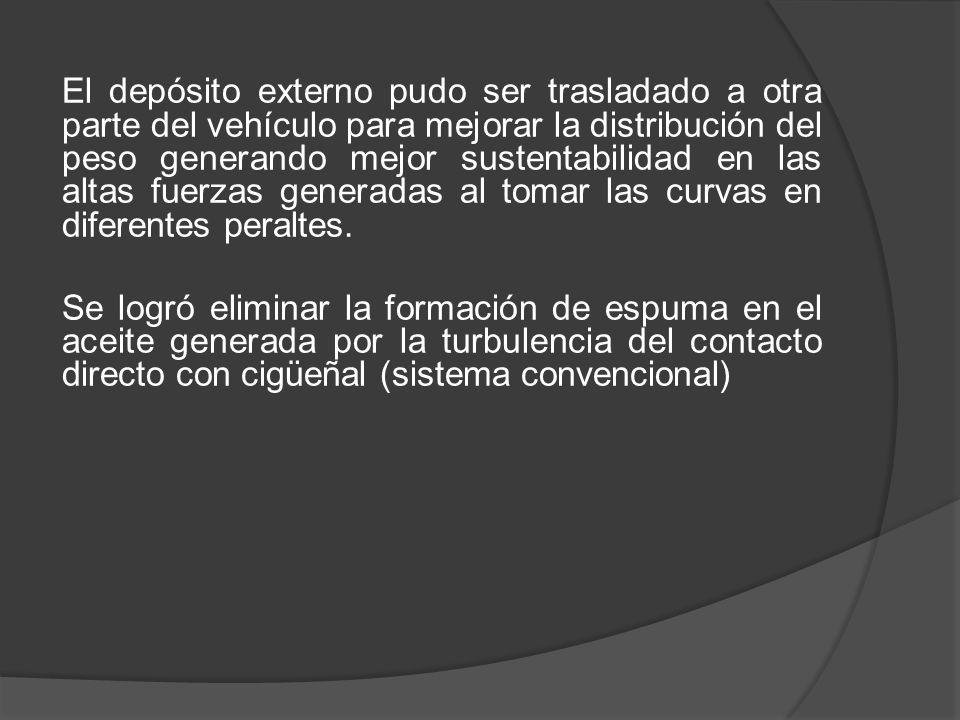 El depósito externo pudo ser trasladado a otra parte del vehículo para mejorar la distribución del peso generando mejor sustentabilidad en las altas fuerzas generadas al tomar las curvas en diferentes peraltes.