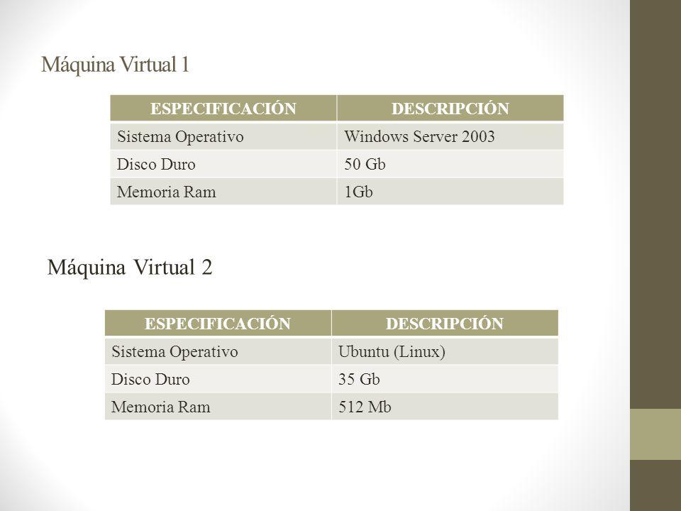 Máquina Virtual 1 Máquina Virtual 2 ESPECIFICACIÓN DESCRIPCIÓN