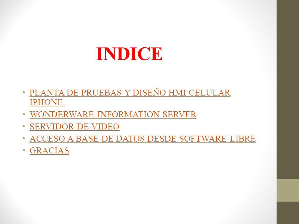 INDICE PLANTA DE PRUEBAS Y DISEÑO HMI CELULAR IPHONE.