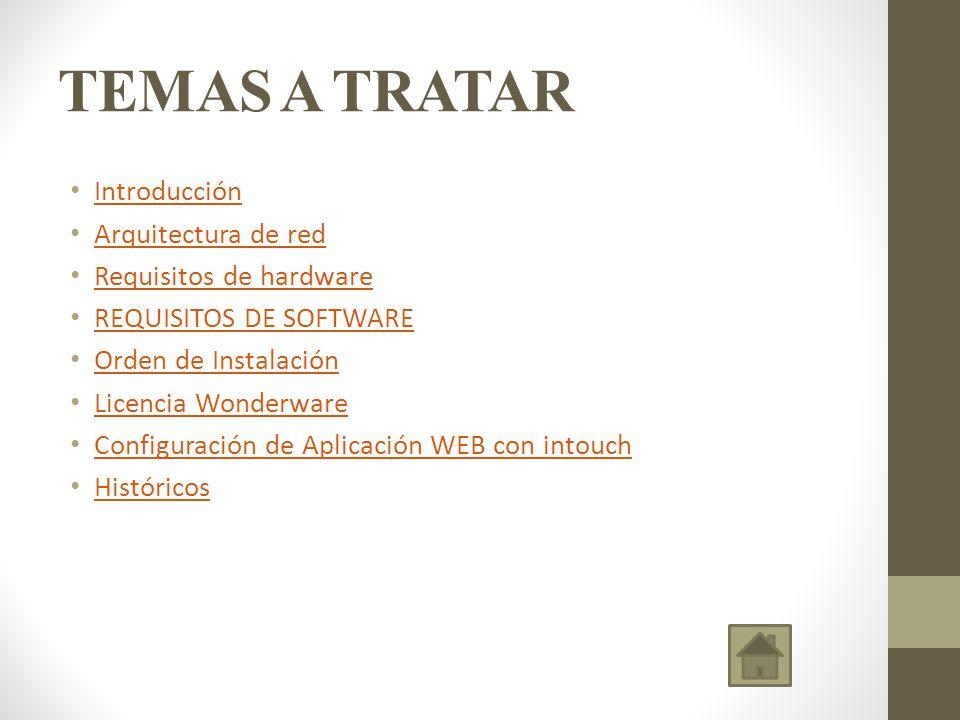 TEMAS A TRATAR Introducción Arquitectura de red Requisitos de hardware