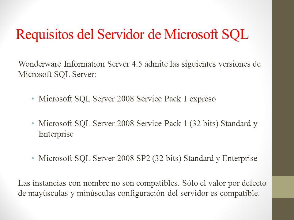 Requisitos del Servidor de Microsoft SQL