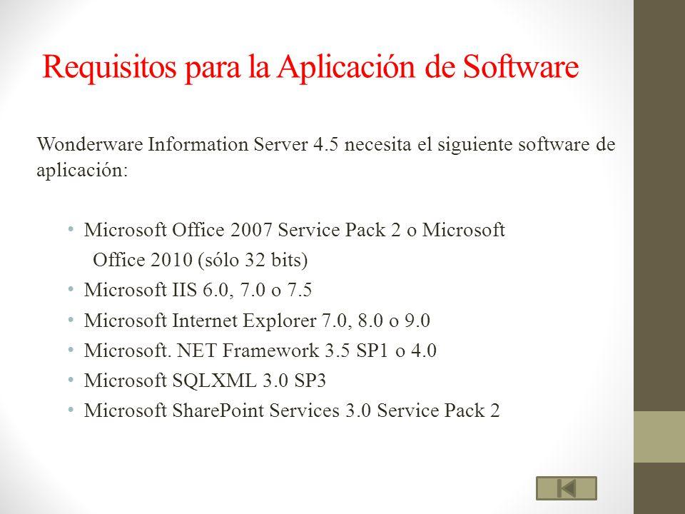 Requisitos para la Aplicación de Software