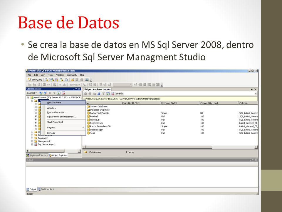 Base de Datos Se crea la base de datos en MS Sql Server 2008, dentro de Microsoft Sql Server Managment Studio.