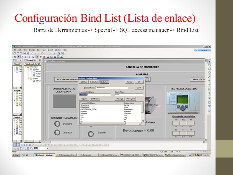 Configuración Bind List (Lista de enlace)