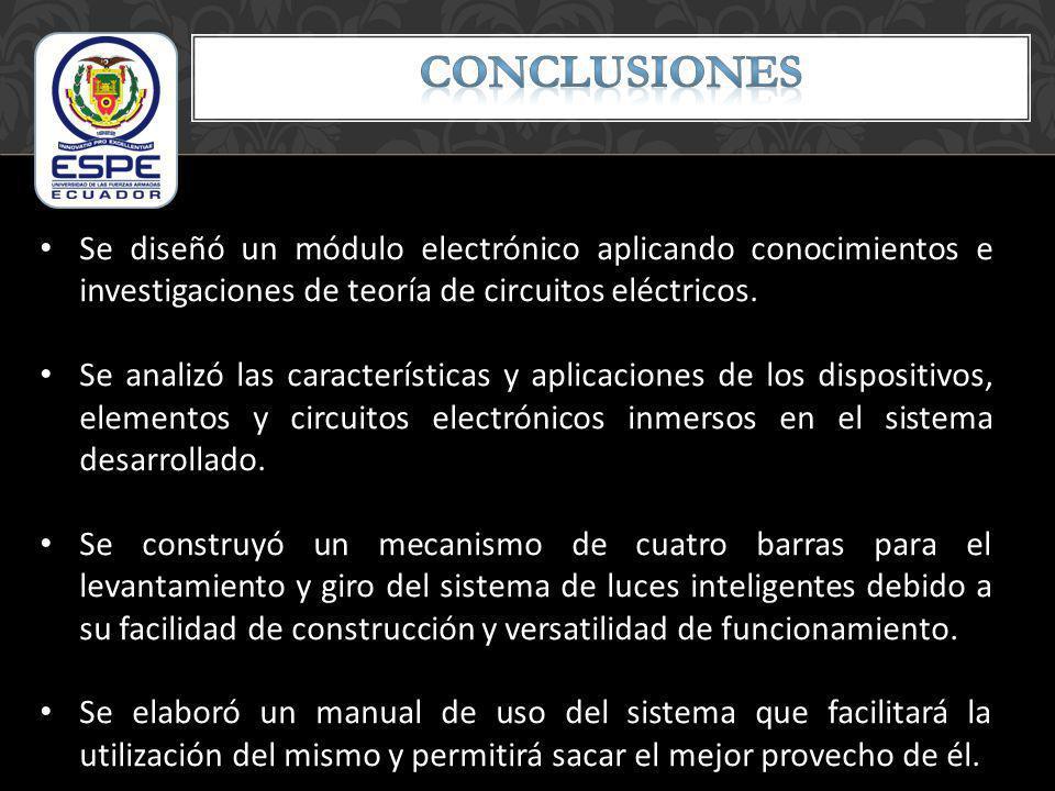 CONCLUSIONES Se diseñó un módulo electrónico aplicando conocimientos e investigaciones de teoría de circuitos eléctricos.