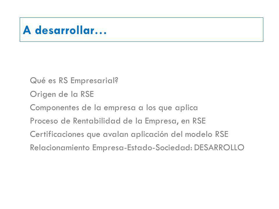 A desarrollar… Qué es RS Empresarial Origen de la RSE