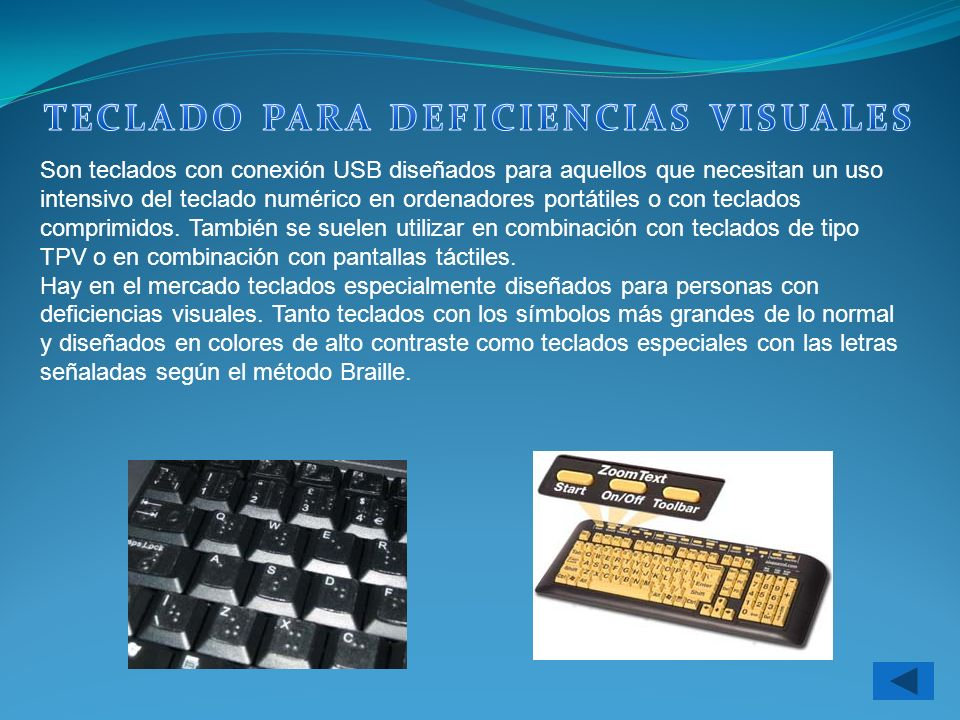TECLADO PARA DEFICIENCIAS VISUALES