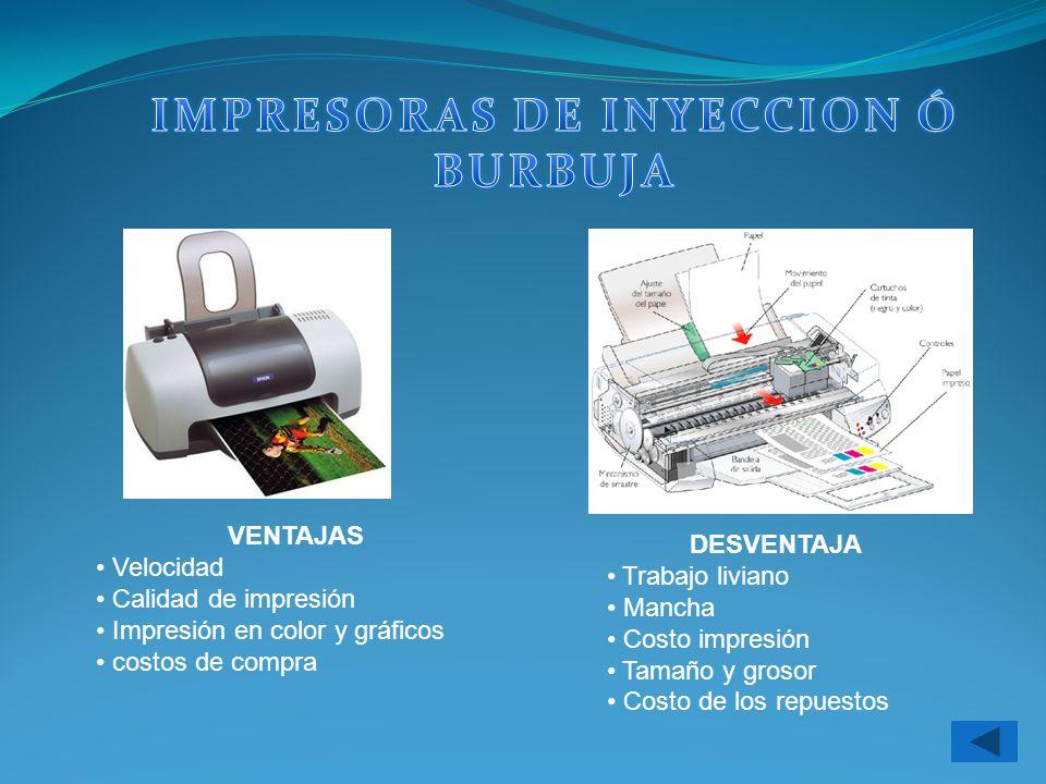 IMPRESORAS DE INYECCION Ó BURBUJA