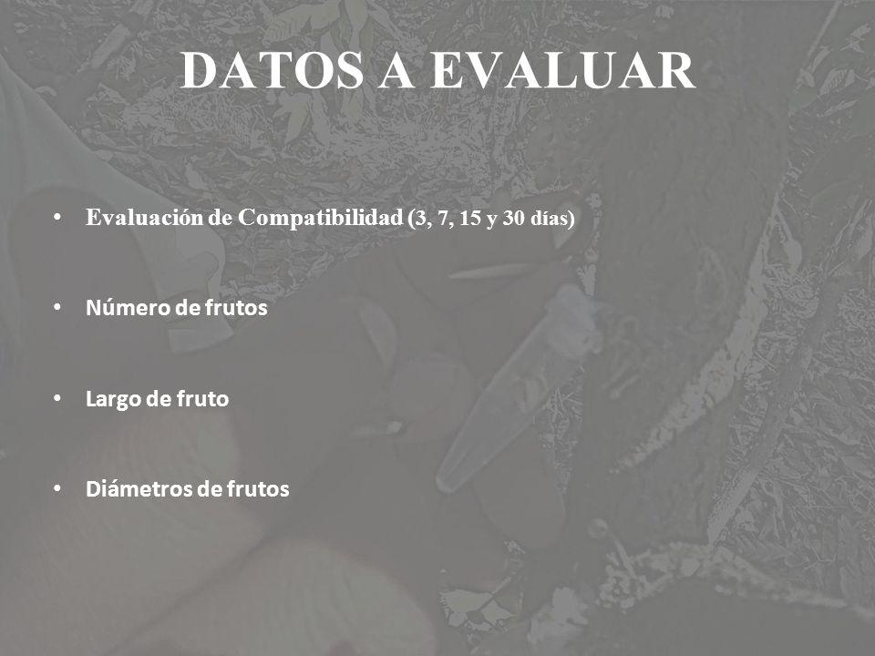 DATOS A EVALUAR Evaluación de Compatibilidad (3, 7, 15 y 30 días)