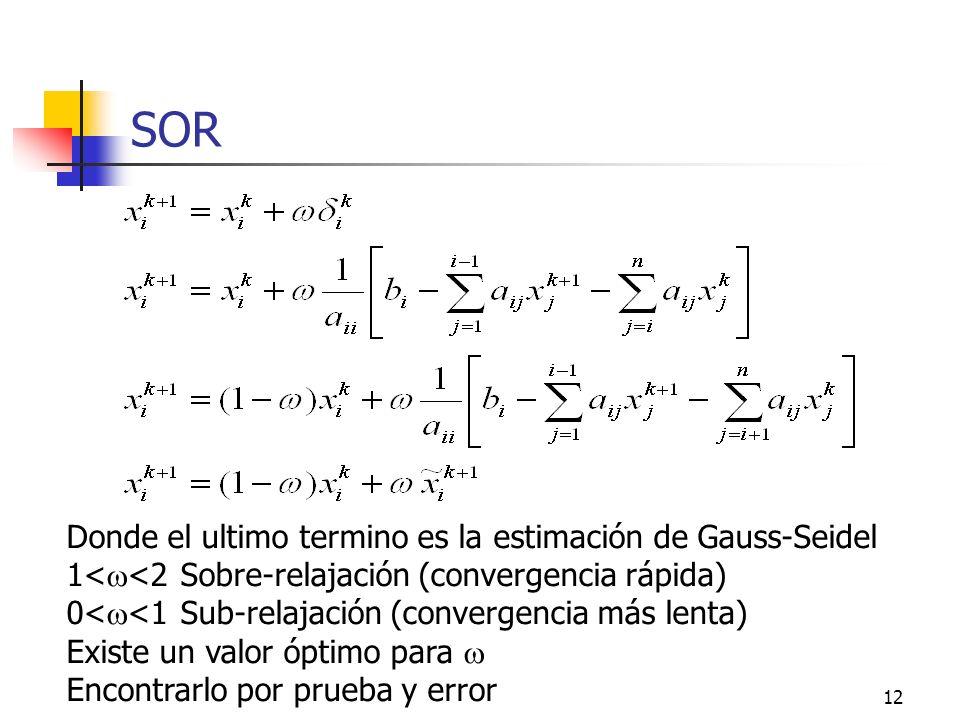 SOR Donde el ultimo termino es la estimación de Gauss-Seidel