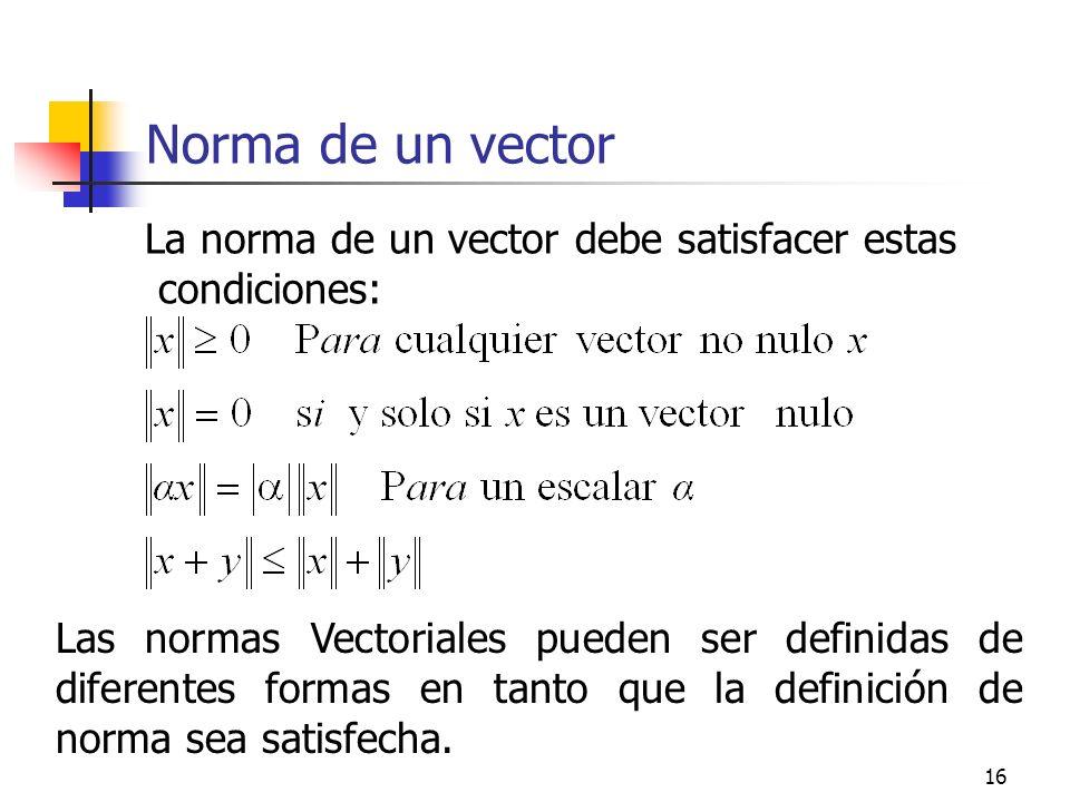 Norma de un vector La norma de un vector debe satisfacer estas