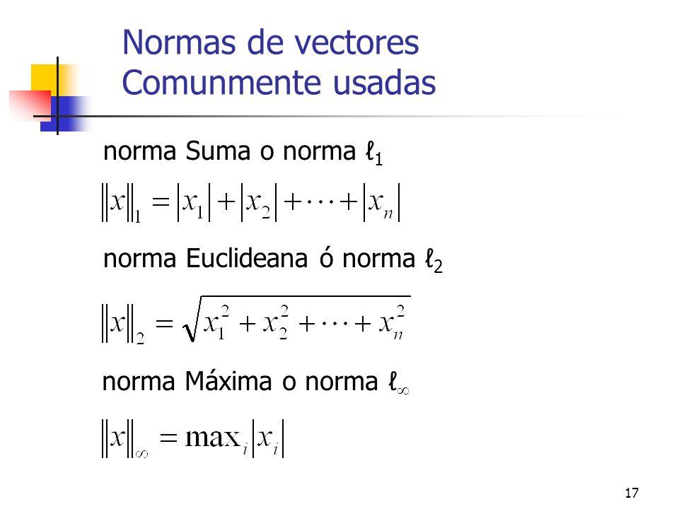 Normas de vectores Comunmente usadas