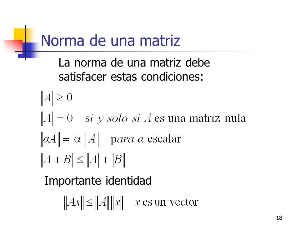 Norma de una matriz La norma de una matriz debe satisfacer estas condiciones: Importante identidad
