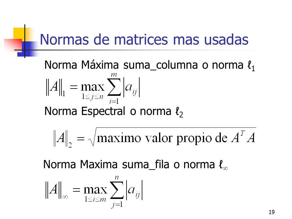 Normas de matrices mas usadas