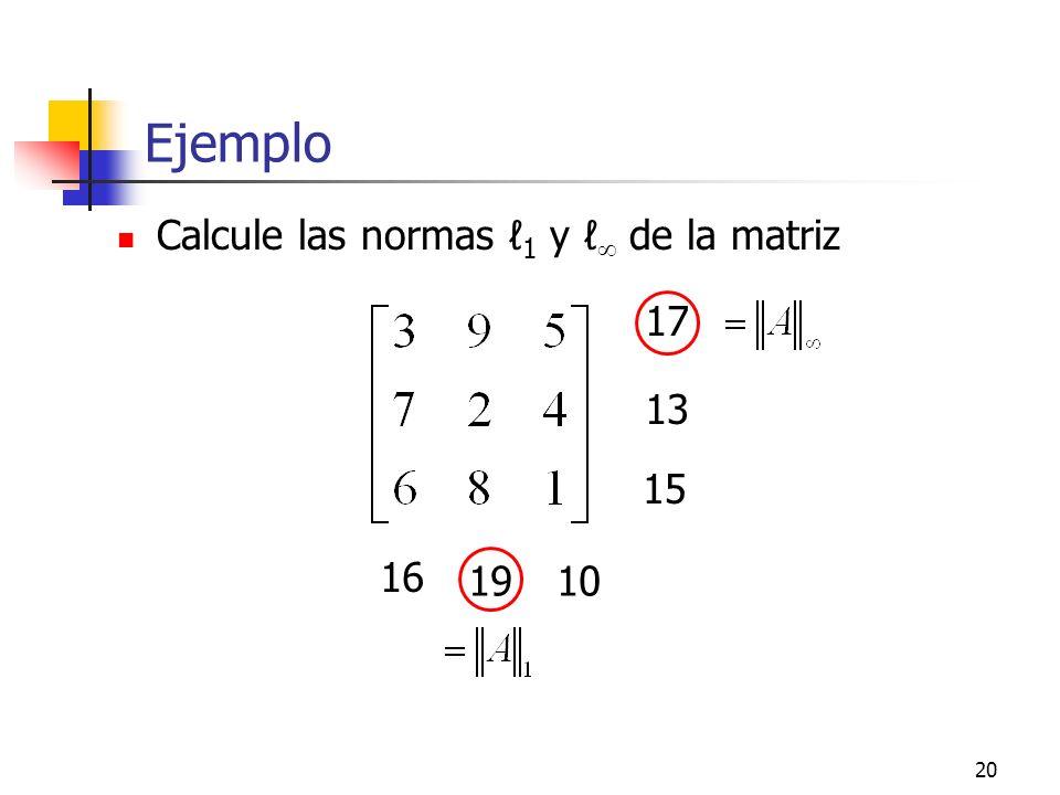 Ejemplo Calcule las normas ℓ1 y ℓ de la matriz 17 13 15 16 19 10