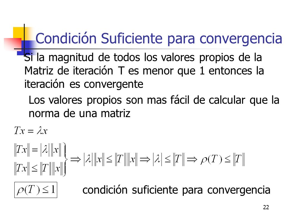 Condición Suficiente para convergencia