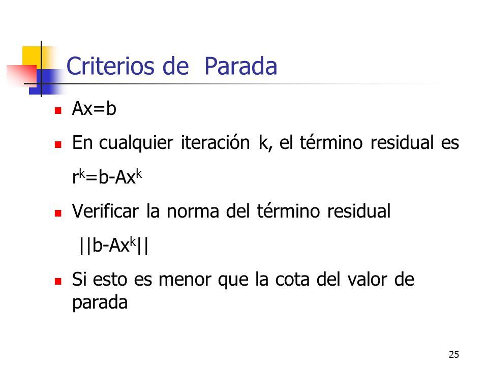 Criterios de Parada Ax=b