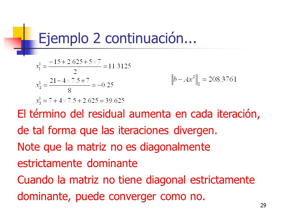 Ejemplo 2 continuación...El término del residual aumenta en cada iteración, de tal forma que las iteraciones divergen.