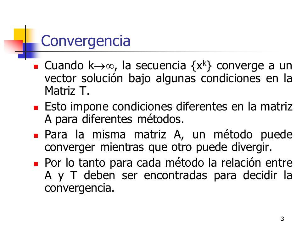 Convergencia Cuando k, la secuencia {xk} converge a un vector solución bajo algunas condiciones en la Matriz T.