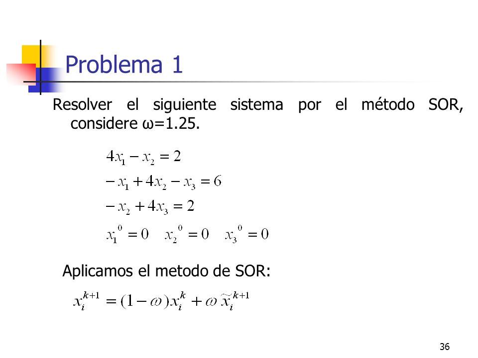 Problema 1 Resolver el siguiente sistema por el método SOR, considere ω=1.25.
