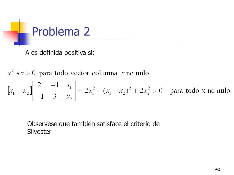 Problema 2 A es definida positiva si: