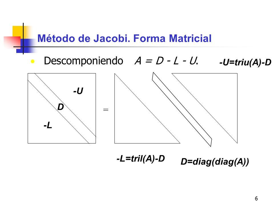 Método de Jacobi. Forma Matricial