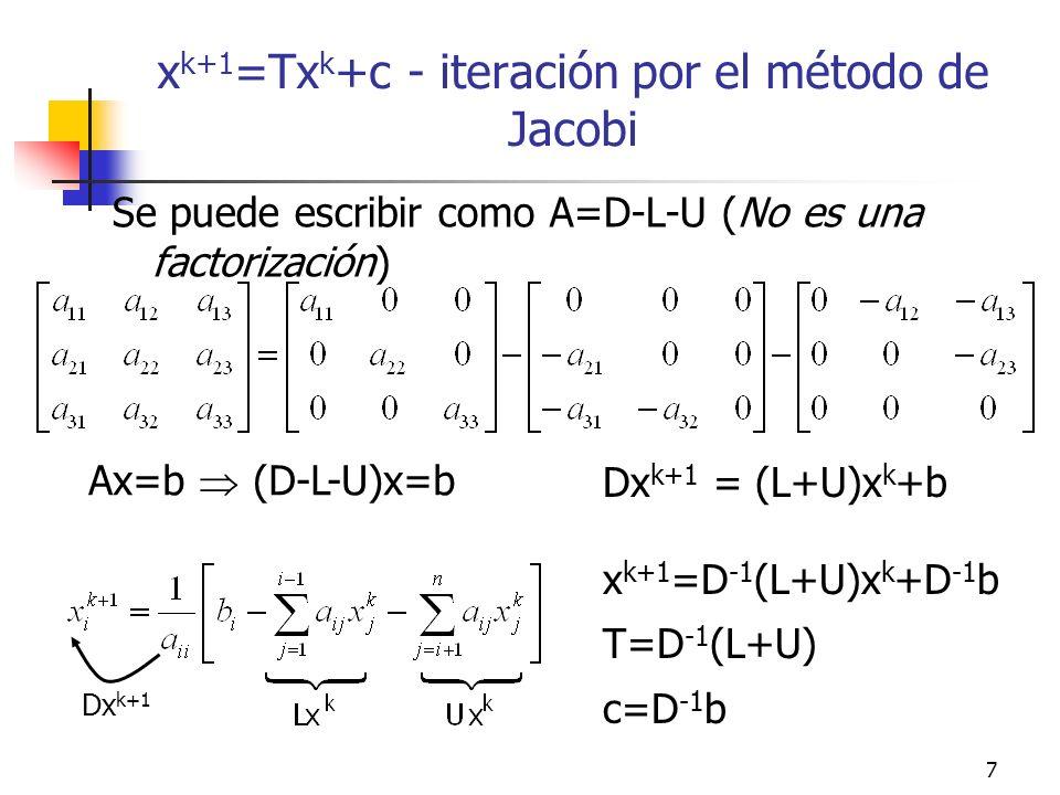 xk+1=Txk+c - iteración por el método de Jacobi