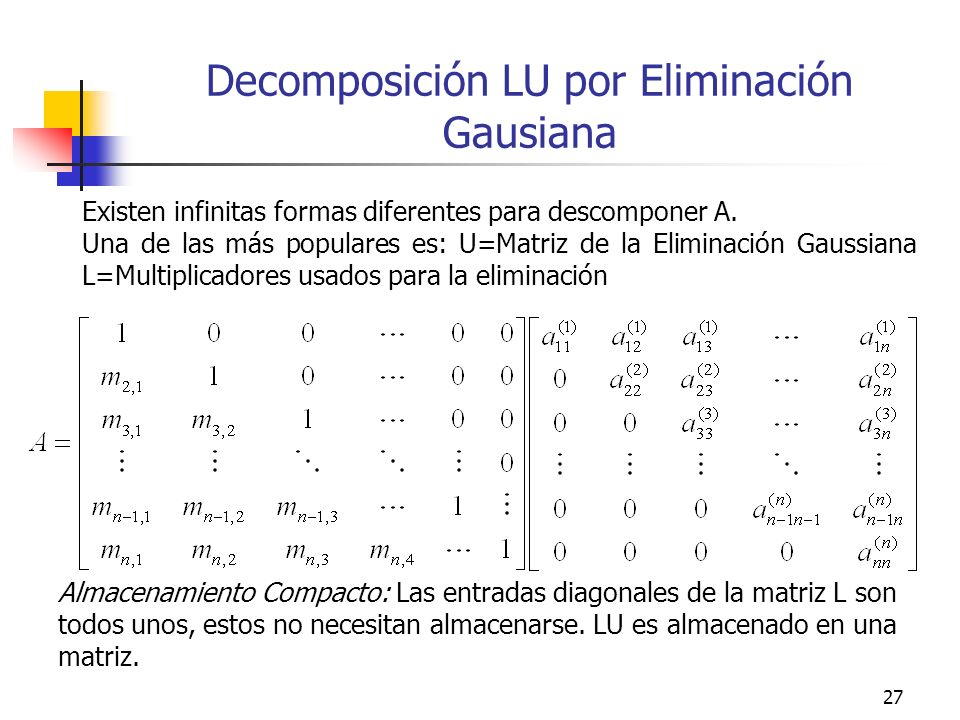 Decomposición LU por Eliminación Gausiana