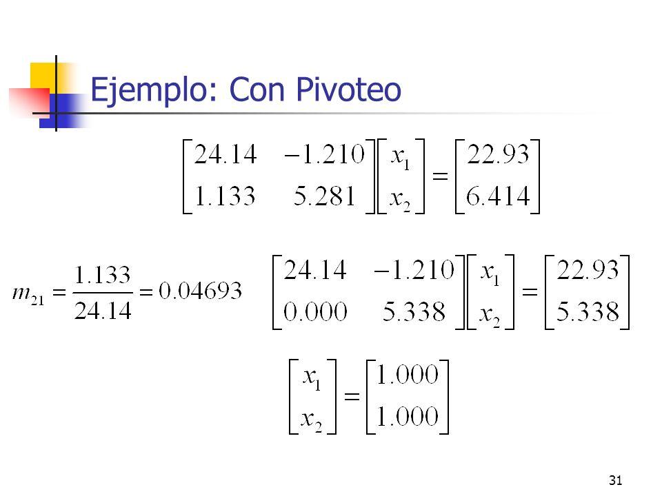 Ejemplo: Con Pivoteo