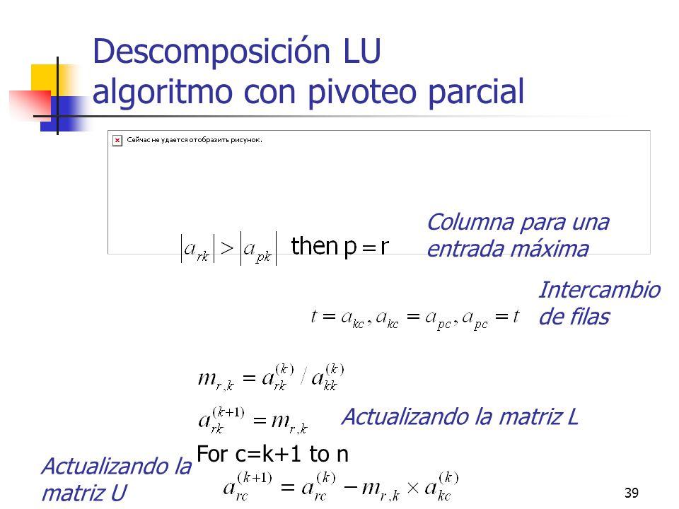 Descomposición LU algoritmo con pivoteo parcial