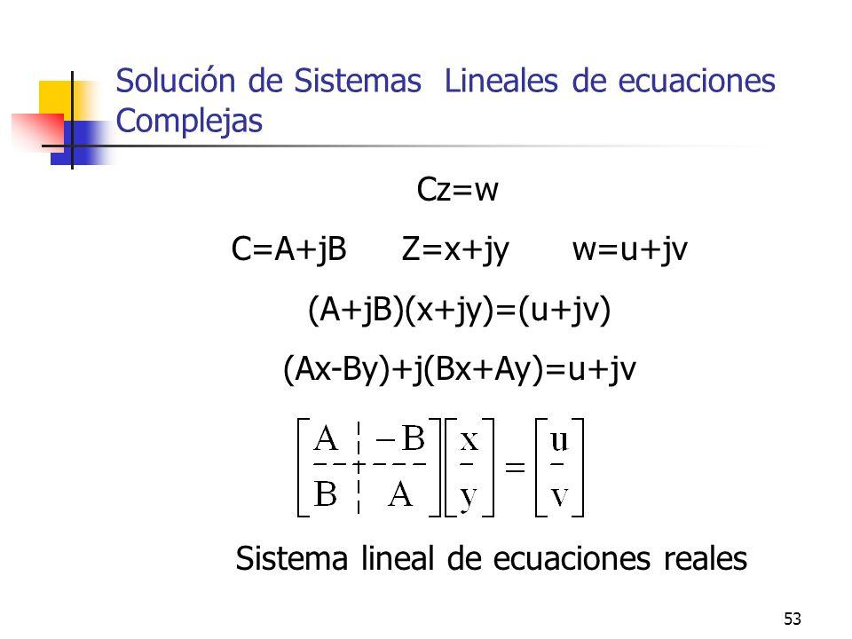 Solución de Sistemas Lineales de ecuaciones Complejas