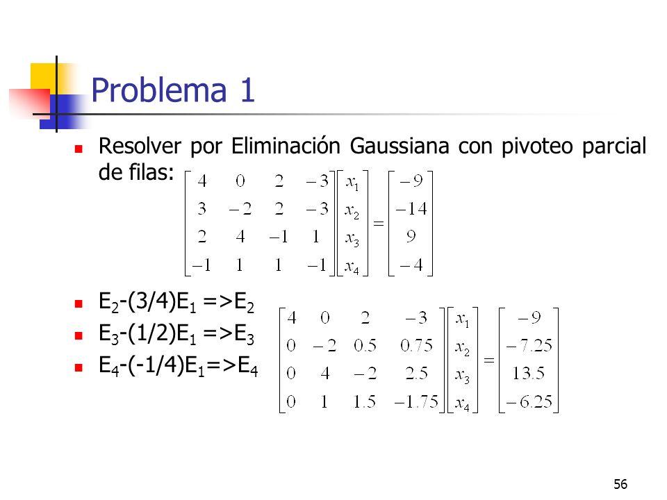 Problema 1 Resolver por Eliminación Gaussiana con pivoteo parcial de filas: E2-(3/4)E1 =>E2. E3-(1/2)E1 =>E3.