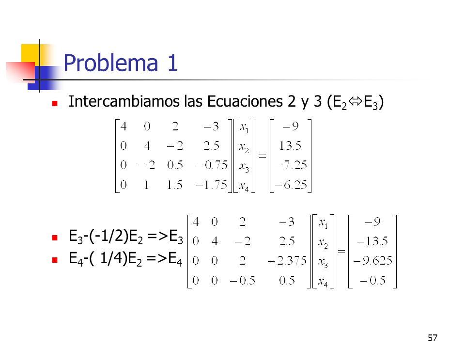 Problema 1 Intercambiamos las Ecuaciones 2 y 3 (E2E3)