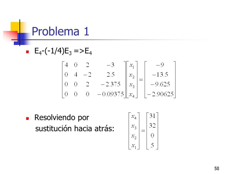 Problema 1 E4-(-1/4)E3 =>E4 Resolviendo por