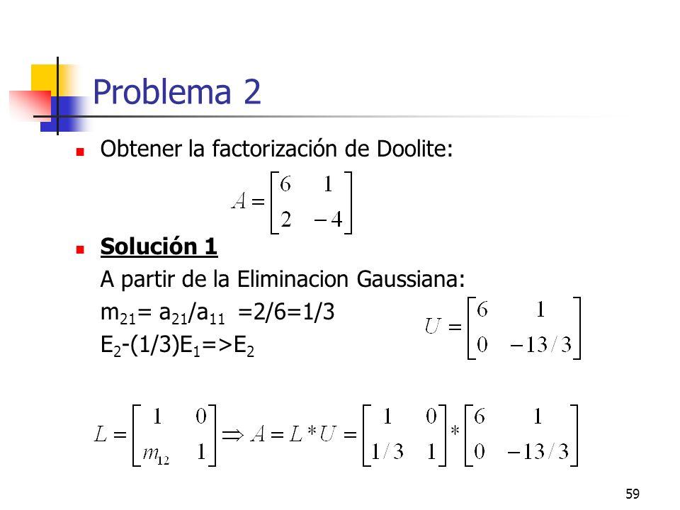 Problema 2 Obtener la factorización de Doolite: Solución 1