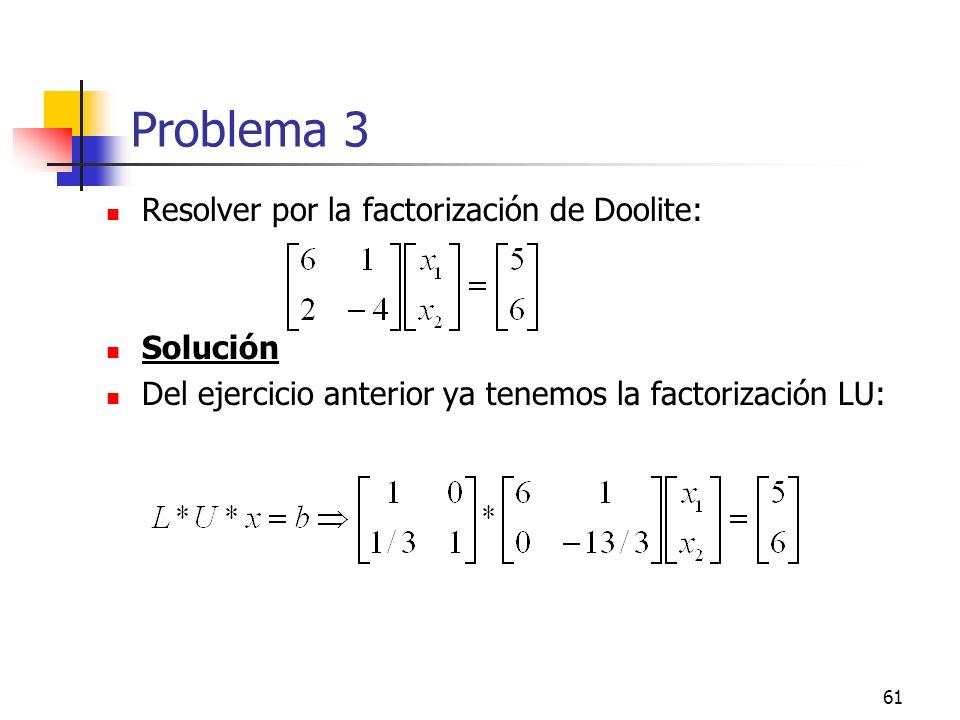 Problema 3 Resolver por la factorización de Doolite: Solución