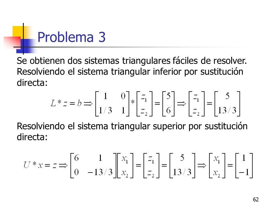 Problema 3 Se obtienen dos sistemas triangulares fáciles de resolver. Resolviendo el sistema triangular inferior por sustitución directa: