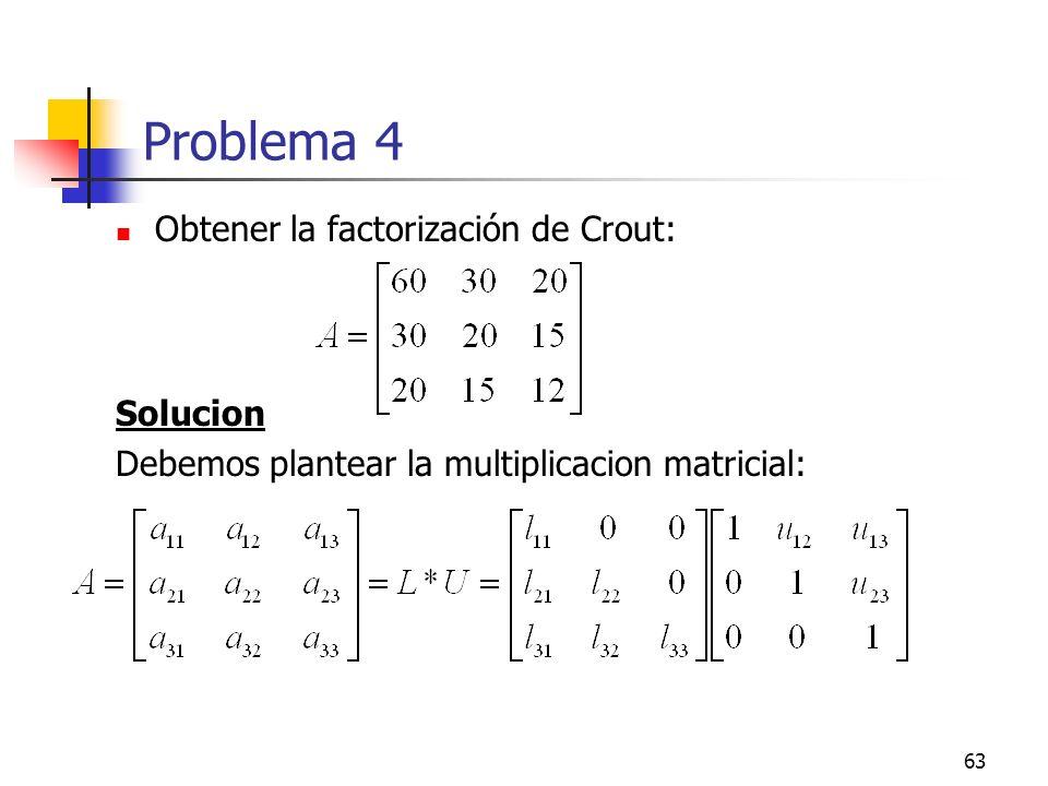 Problema 4 Obtener la factorización de Crout: Solucion