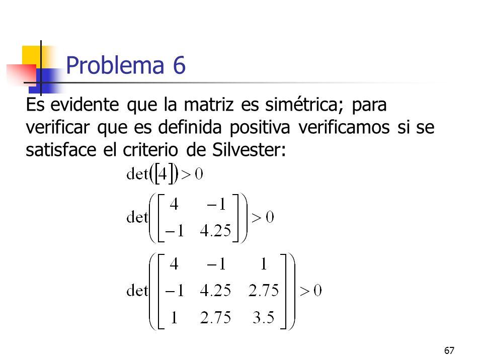 Problema 6 Es evidente que la matriz es simétrica; para verificar que es definida positiva verificamos si se satisface el criterio de Silvester: