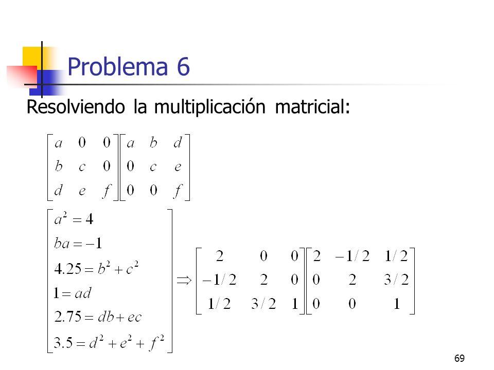 Problema 6 Resolviendo la multiplicación matricial: