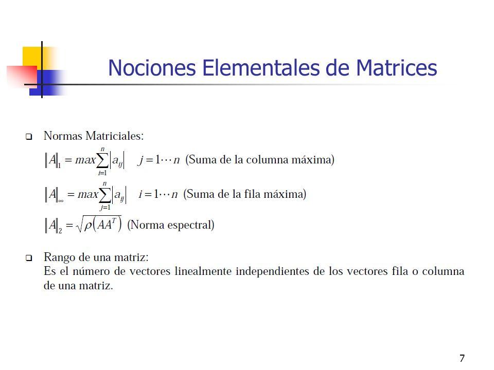 Nociones Elementales de Matrices