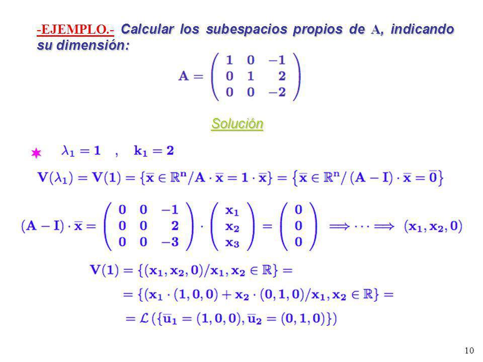 -EJEMPLO.- Calcular los subespacios propios de A, indicando su dimensión: