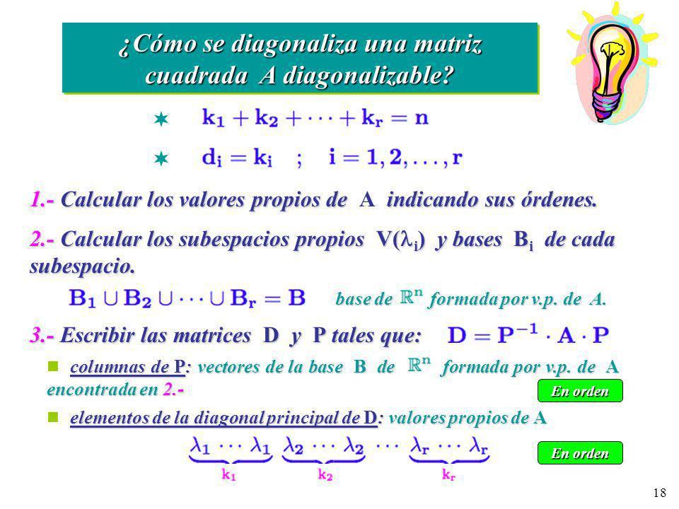 ¿Cómo se diagonaliza una matriz cuadrada A diagonalizable