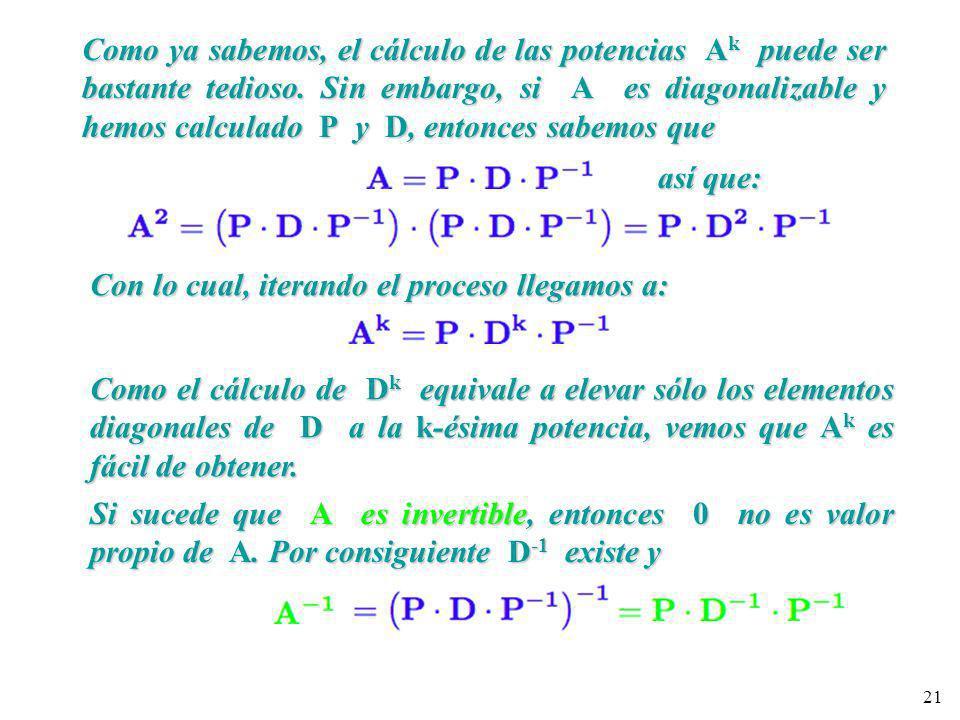 Como ya sabemos, el cálculo de las potencias Ak puede ser bastante tedioso. Sin embargo, si A es diagonalizable y hemos calculado P y D, entonces sabemos que