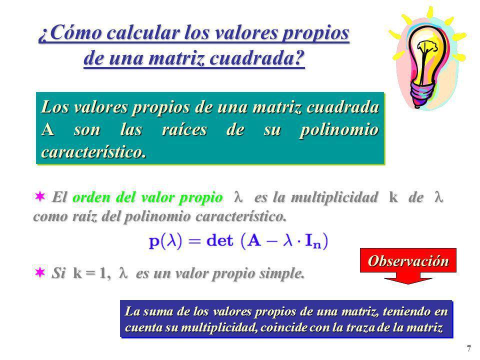¿Cómo calcular los valores propios de una matriz cuadrada