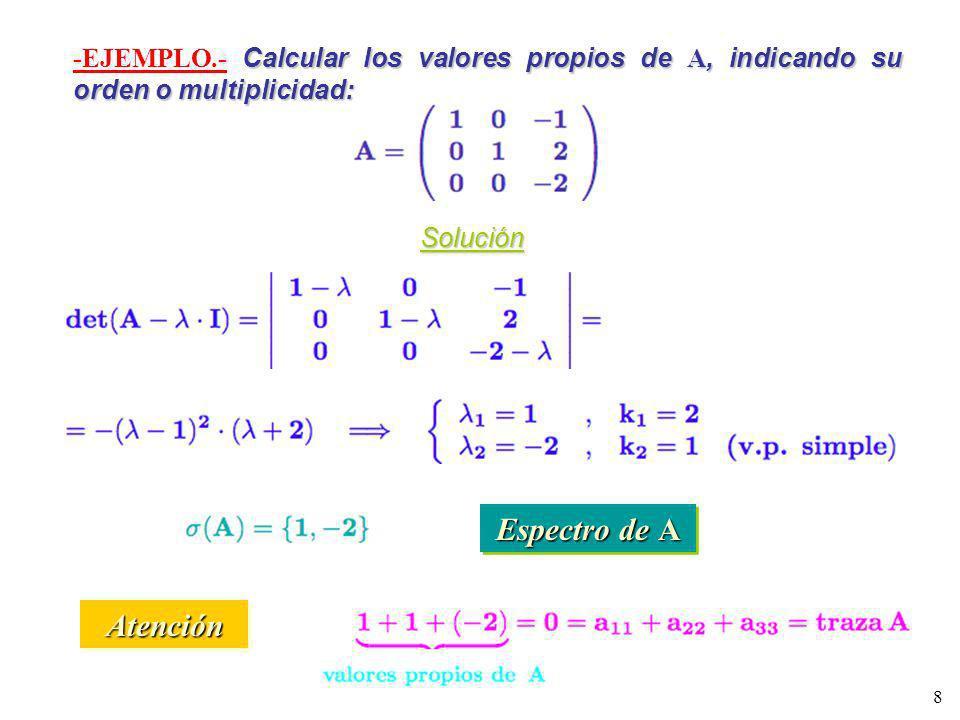 -EJEMPLO.- Calcular los valores propios de A, indicando su orden o multiplicidad: