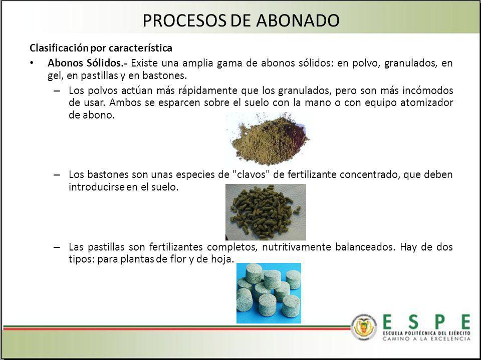 PROCESOS DE ABONADO Clasificación por característica