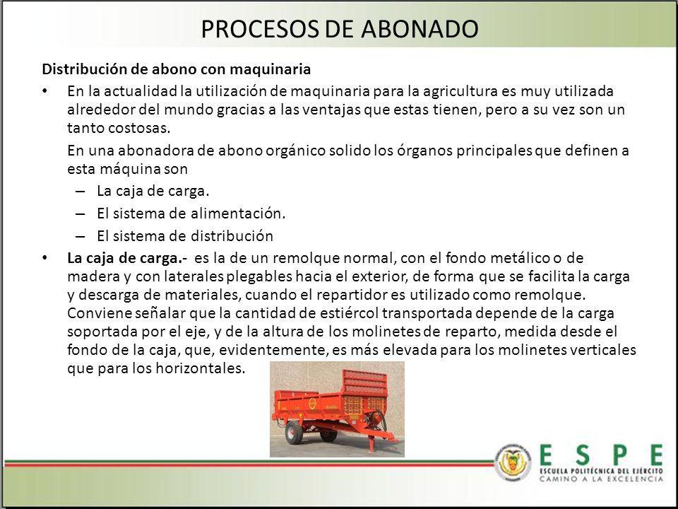 PROCESOS DE ABONADO Distribución de abono con maquinaria