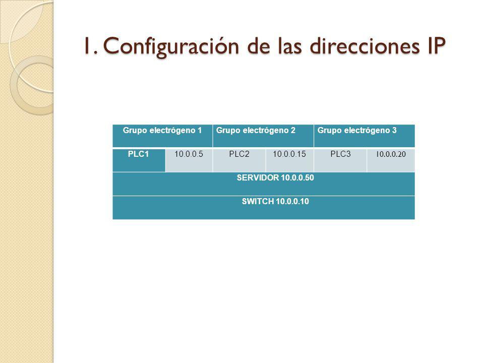 1. Configuración de las direcciones IP