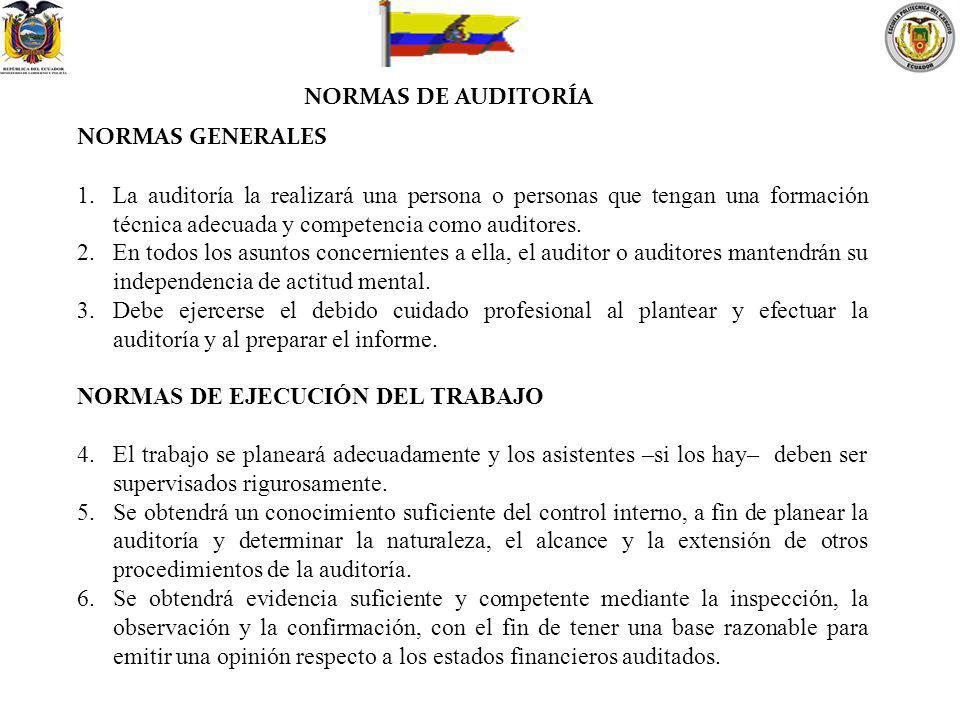 NORMAS DE AUDITORÍA NORMAS GENERALES.